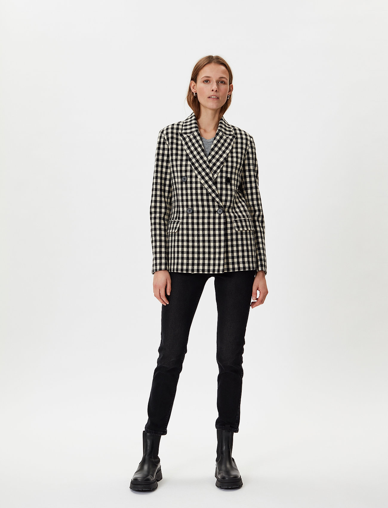 2NDDAY - 2ND Macadamia Check - tailored blazers - black - 0
