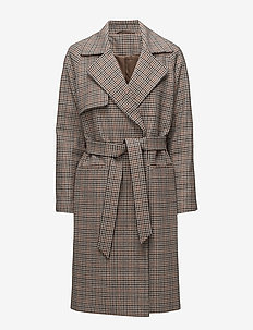 2ND Livia Checked - trench coats - driftwood