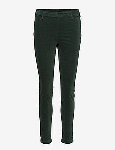 2ND Jeanett Velvet - straight leg trousers - pineneedle