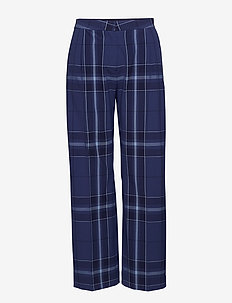2ND Anya Maxi-Check - wide leg trousers - crown blue