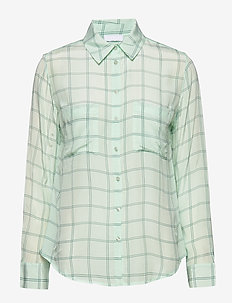 2ND Gwen Check - blouses med lange mouwen - moonlight jade