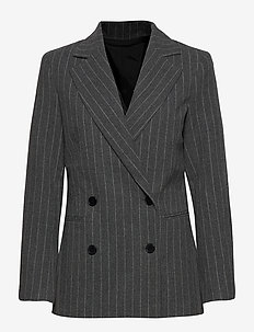 2ND Brook Pinstripe - getailleerde blazers - dark grey mel.