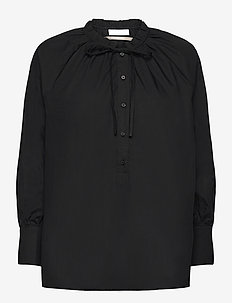 2ND Roland Thinktwice - long sleeved blouses - black