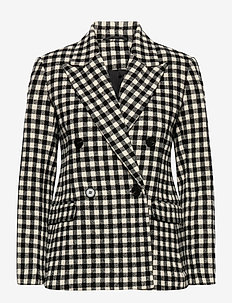 2ND Macadamia Check - getailleerde blazers - black
