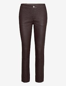 2ND Leya - leather trousers - chocolate plum