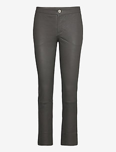 2ND Leya - leather trousers - understated black