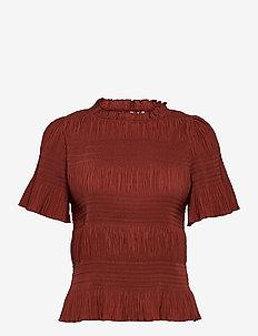 2ND Natalia - short-sleeved blouses - henna