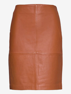 2ND Cecilia - Classic Leather - midi garuma svārki - mocha bisque