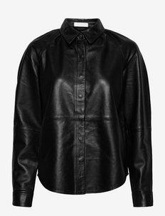 2ND Sumac - Refined Leather - chemises à manches longues - jet black