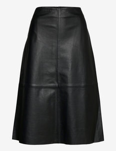 2ND Marvin - Refined Leather - midi garuma svārki - jet black