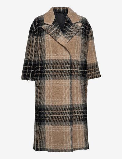 2ND Pecan - Check Wool - uldfrakker - check wool