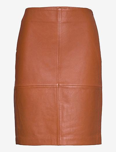 2ND Cecilia - Classic Leather - nederdele i læder - mocha bisque