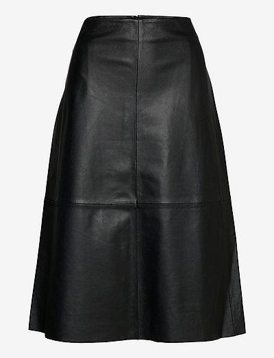 2ND Marvin - Refined Leather - nederdele i læder - jet black