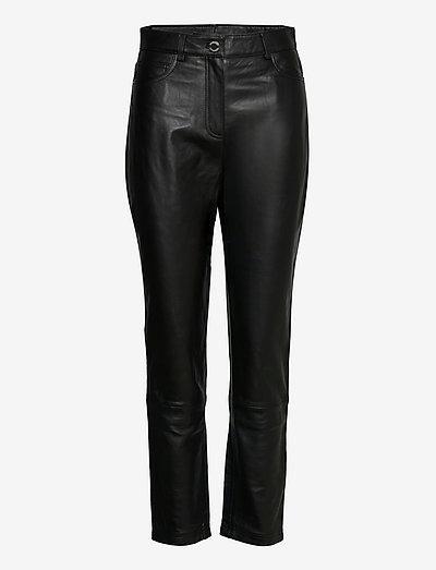 2ND Sage - Classic Leather - læderbukser - jet black