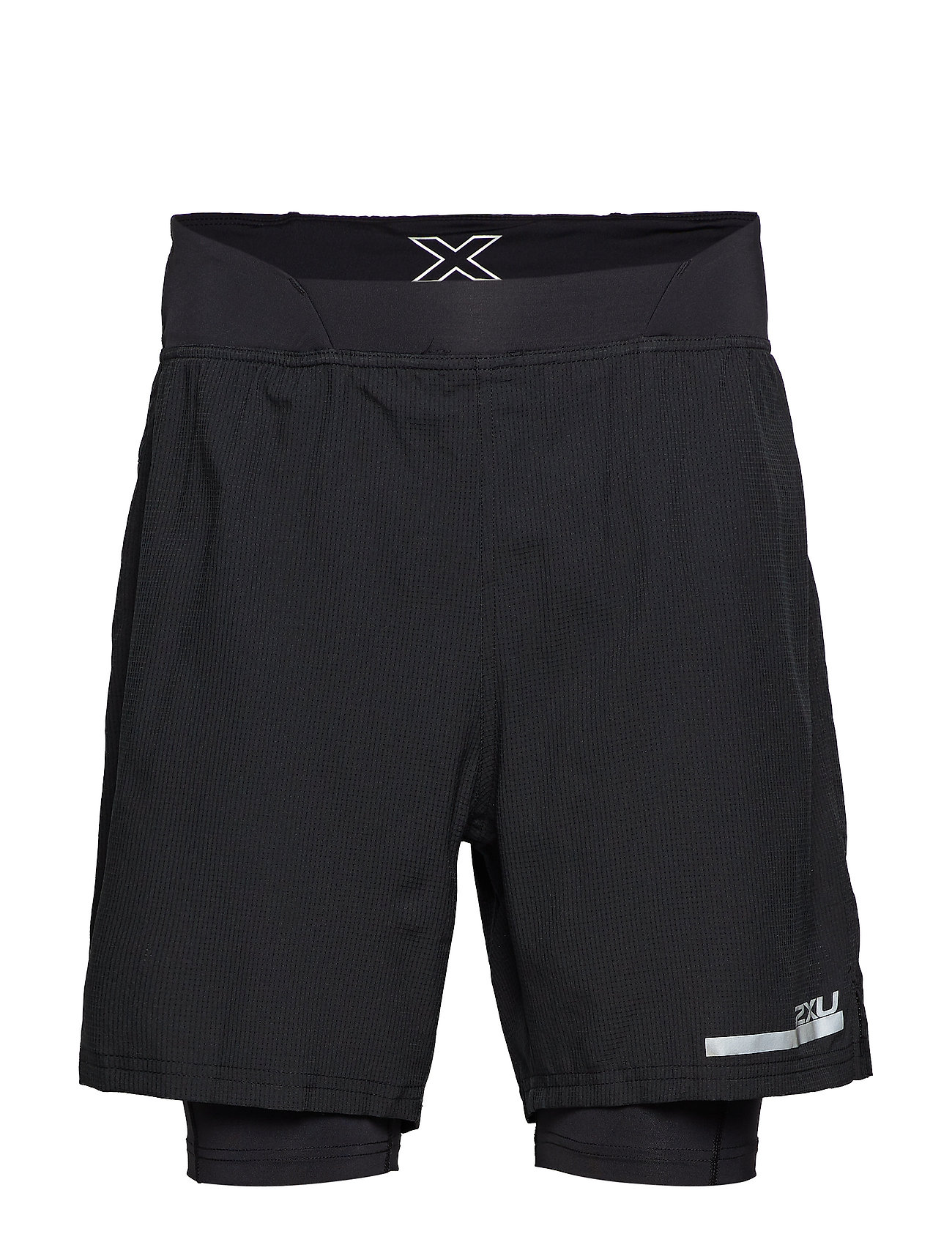 "2XU Run 2 in 1 Comp 7"" Shorts-M - BLACK/SILVER"