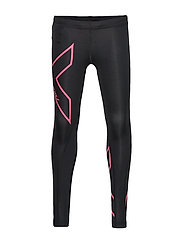 Girls Compression Tights-Youth - BLACK/HOT PINK