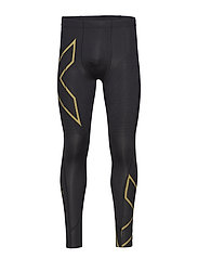 MCS Run Compression Tights - BLACK/GOLD REFLECTIVE