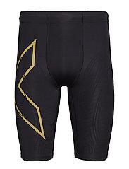 MCS Run Compression Shorts-M - BLACK/GOLD REFLECTIVE