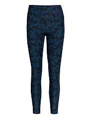 Print Mid-Rise Comp Tights-W - BUTTERFLY EFFECT POSEIDON/NERO