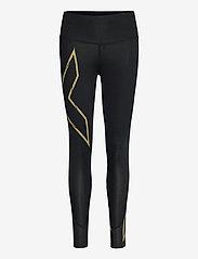2XU - LIGHT SPEED MID-RISE COMPRESS - sportleggings - black/gold reflective - 0