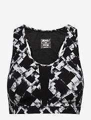 2XU - Perform Medium Impact Crop-W - sport bras: medium - textured check black/silver - 0