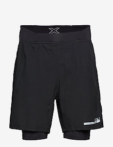 "Run 2 in 1 Comp 7"" Shorts-M - BLACK/SILVER"