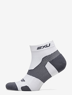 Vectr LightCush 1/4Crew Sock-U - WHITE/GREY