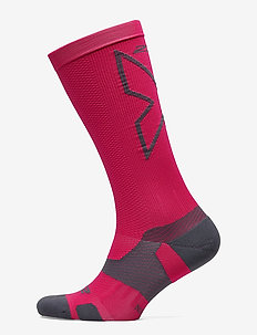 VECTR Light Cushion Full Length Socks-U - HOT PINK/GREY
