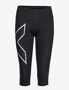 Run Mid-Rise Comp 3/4 Tights w/Back St-W - BLACK/SILVER REFLECTIVE