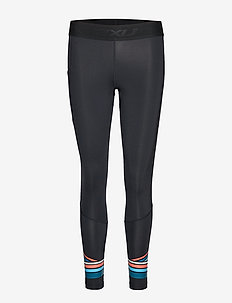 Accel Comp Tight w Storage-W - BLACK/SHERBERT TEAL STRIPE
