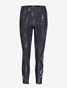 Print Mid-Rise Comp Tights-W - FREQUENCY BOYSENBERRY/WHITE