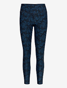 Print Mid-Rise Comp Tights-W - løbe- og træningstights - butterfly effect poseidon/nero