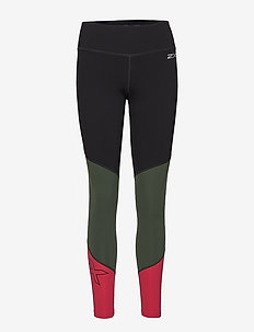 Fitness Mid-Rise Compression Tights - BLACK/MOUNTAIN VIEW VIRTUAL PINK