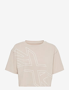 FORM CROP TEE - navel shirts - oatmeal/white