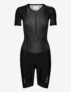 PERFORM FULL ZIP SLEEVED TRIS - spodenki treningowe - black/shadow
