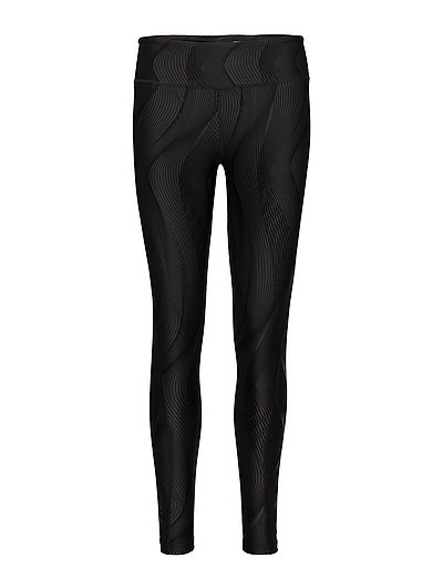 MidRisePrintTights-W - BLACK VERTICAL CURVE/BLACK
