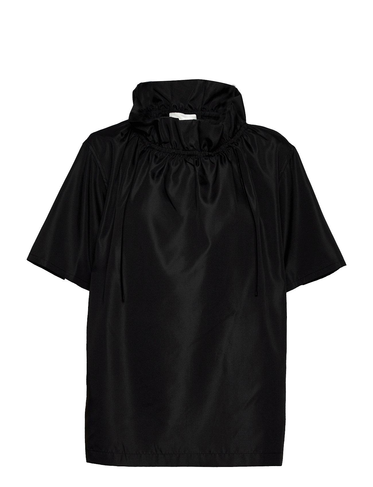 P212-2882prt / Ss Ruched Neck Boxing Taffeta Top Blouses Short-sleeved Sort 3.1 Phillip Lim