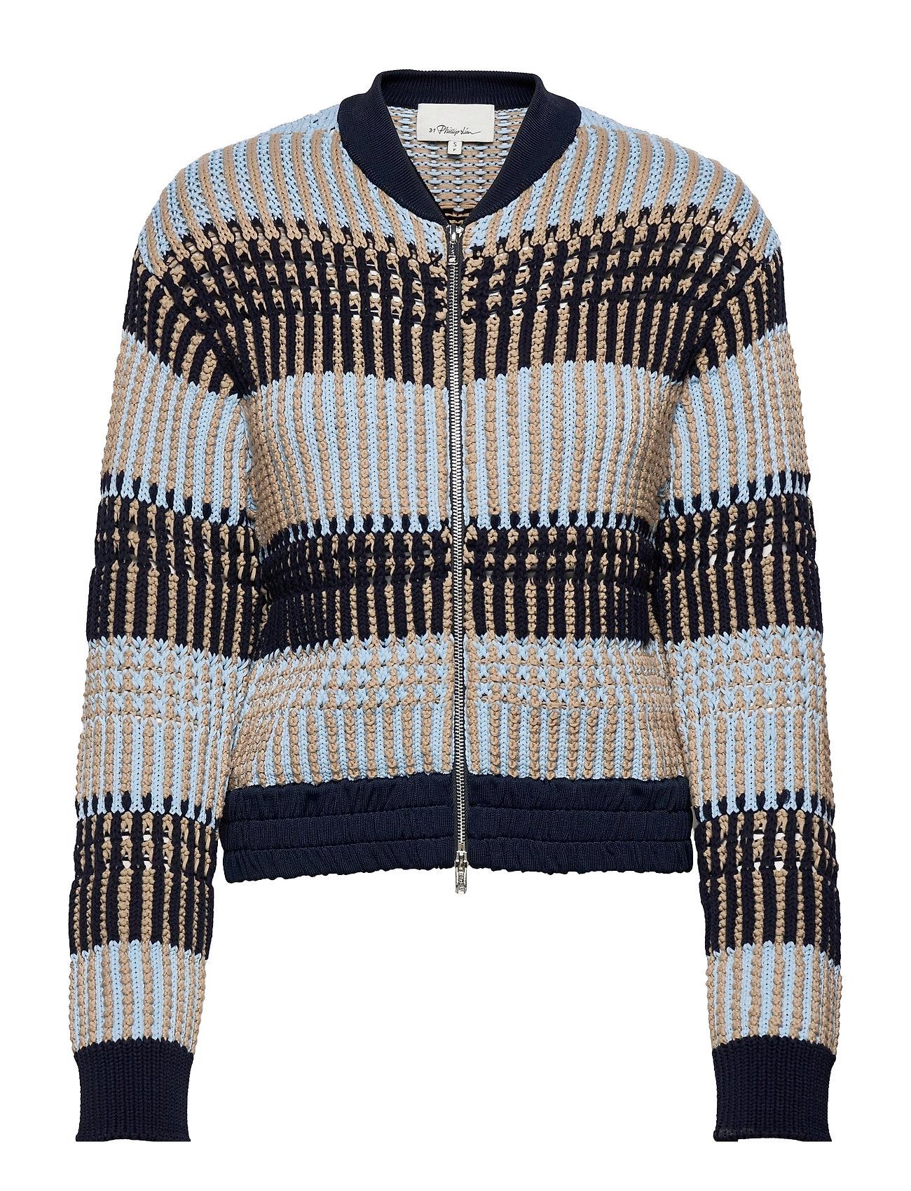 P212-7452pte / Bold Striped Knit Jacket Strikket Trøje Cardigan Blå 3.1 Phillip Lim