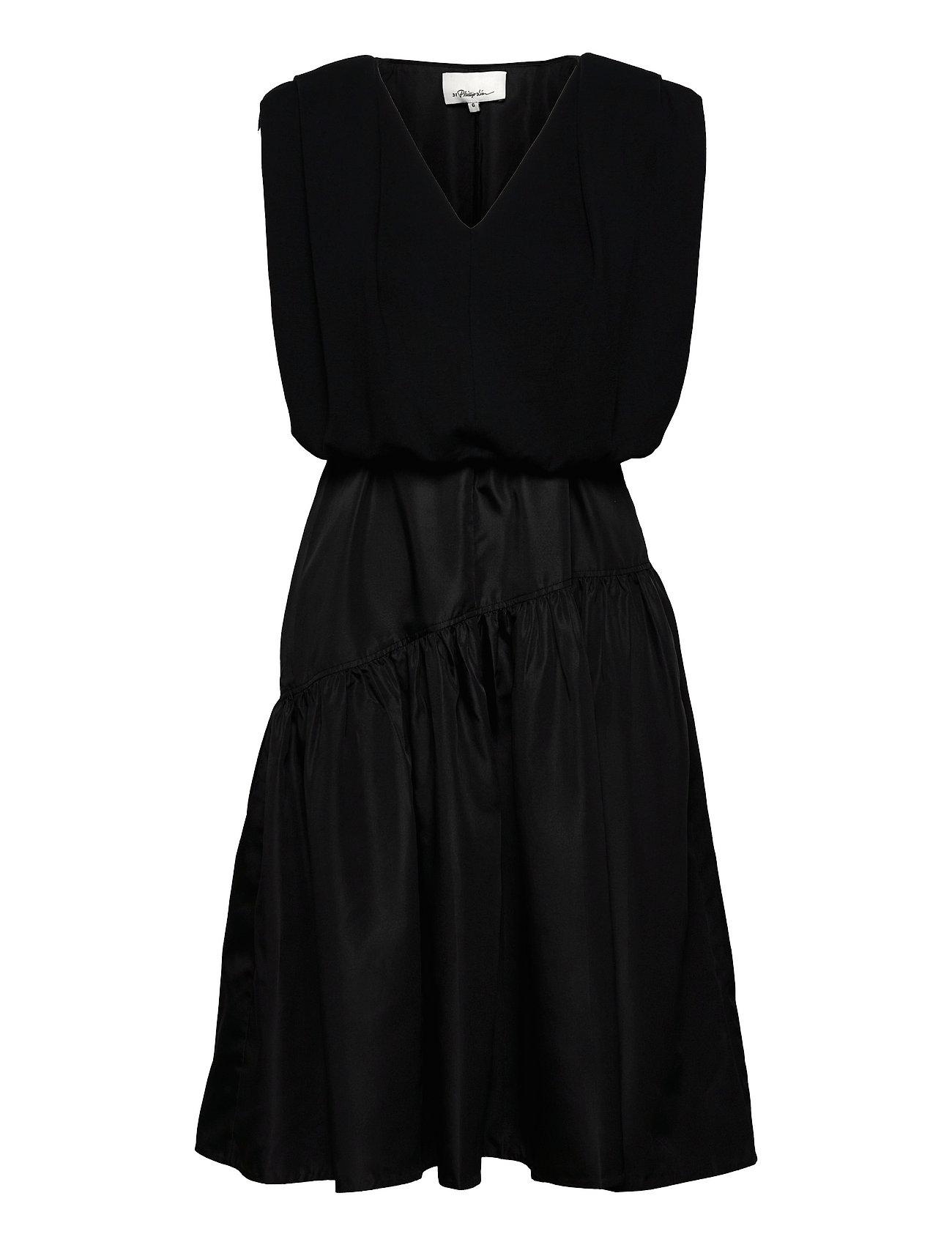 P212-9119prt / Sl French Terry Combo Dress W Taffeta Skirt Kort Kjole Sort 3.1 Phillip Lim