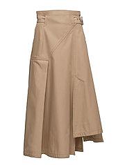 Utility belted skirt - CAMEL