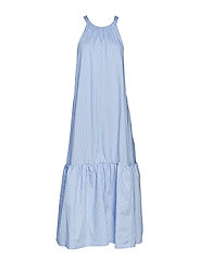 LONG STRIPED TENT DRESS - LIGHT BLUE-NAVY