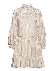 LS STRIPED ALINE MINI DRESS - KHAKI-WHITE