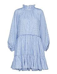 LS STRIPED ALINE MINI DRESS - LIGHT BLUE-NAVY
