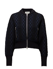 WOVEN MOCK CABLE BOMBER - MIDNIGHT
