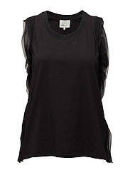 TANK W TOPSTITCH RIBBON - BLACK