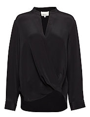 Long sleeved collarless blouse - BLACK