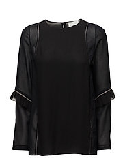 LS TOP W RUFFLE AND ZIP SLEEVE DETAIL - BLACK