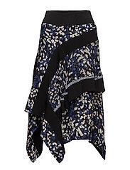 Layered painted dot skirt - BLK-BLUE