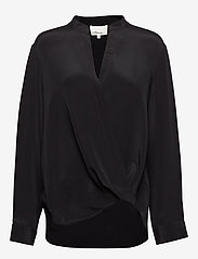 LONG SLEEVED COLLARLESS SOFT DRAPED SLEEVED BLOUSE