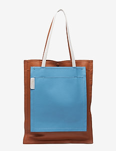SLIM ACCORDION TOTE - COGNAC-MULTI